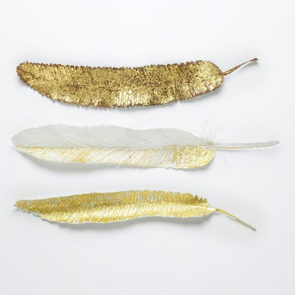 'Golden Flight Feathers' embroidery, paper, gold leaf