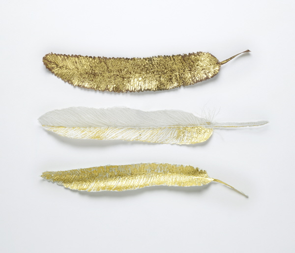 Golden Flight Feathers' Embroidery, paper, gold leaf