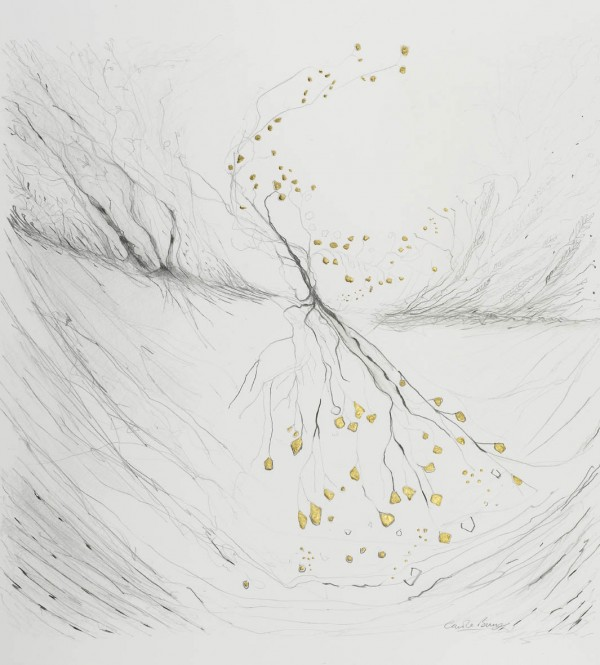 Acquired. pencil and gold leaf. From 'Seeking the God Beyond'